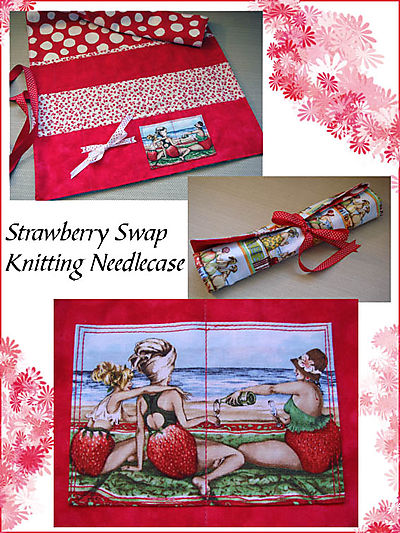 Strawberry Swap knitting needlecase v2
