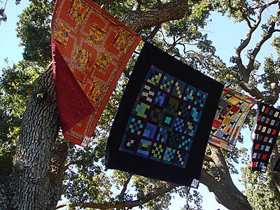 Quilts flying in the wind