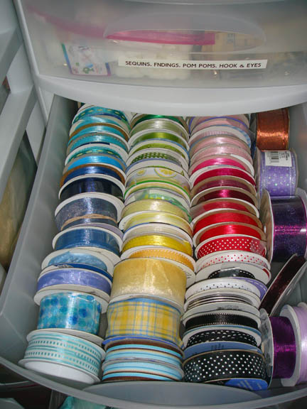 Spools of ribbon in drawer