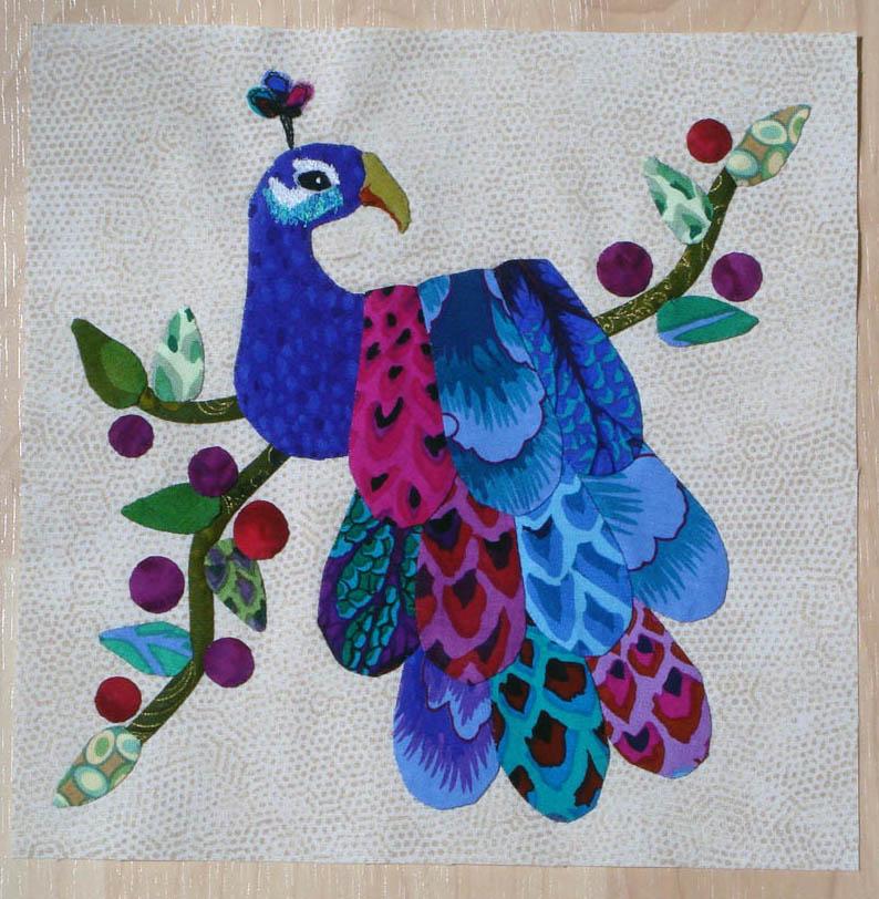Peacock Applique quilt block - 1st one