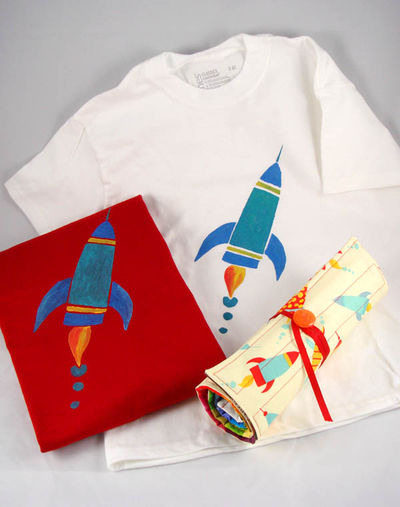Rocket t shirts and colored pencil roll