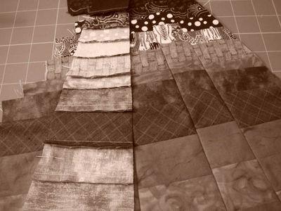 Pieced ground in sepia tones