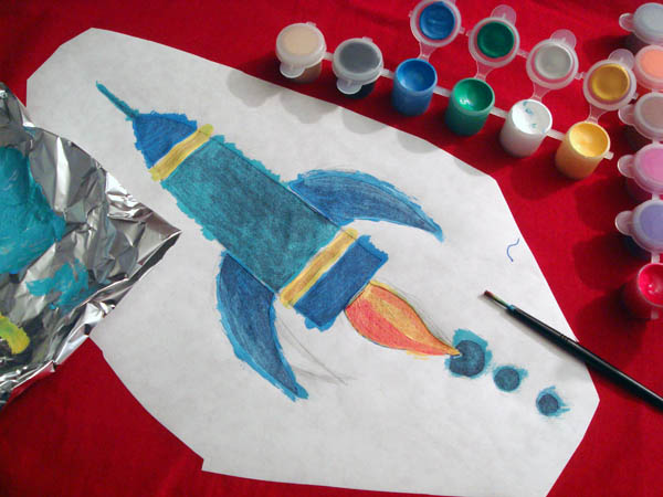 Painting Rocket ship on t shirt