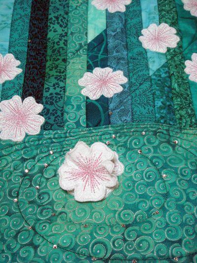 Detail of 3-D flower on Drifting quilt