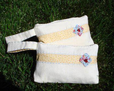Yellow Linen Wristlets