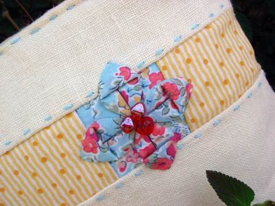 Yellow Linen Wristlets Flower Detail