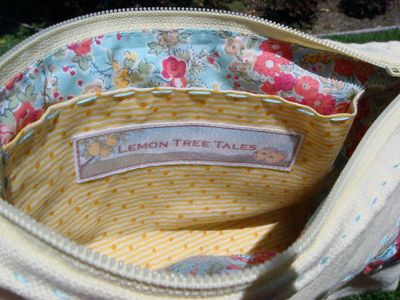 Yellow Linen Wristlet Interior Pocket