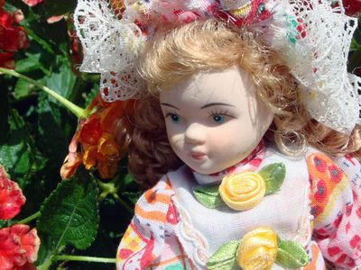 Lantana flower doll closeup