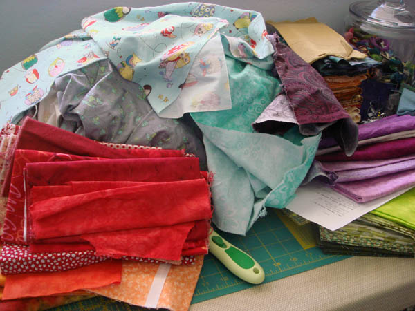 Fabrics on the cutting table