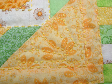 Detail of daisy quilting