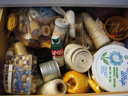 Grandma's Notions Dresser - Glitters and wooden spools