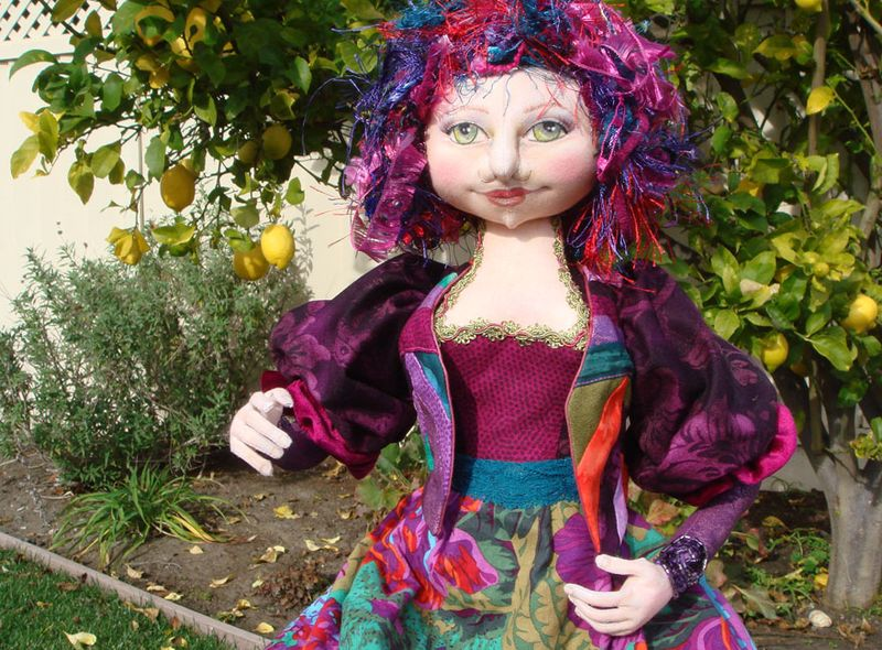 Miss Molly Cloth Doll and the lemon tree