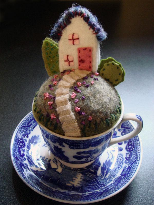 Tiny House pincushion teacup with saucer