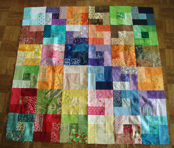 Colorblock quilt top sewn
