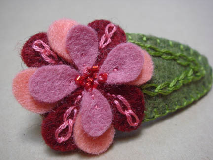 Felt Flower Barrette with beads and embroidery