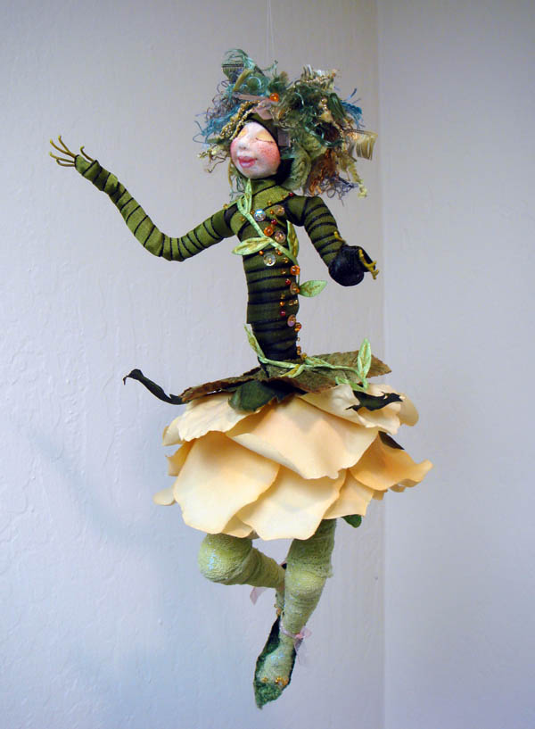 Yellow Rose flower doll