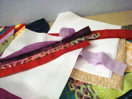 String blocks waiting to be sewn