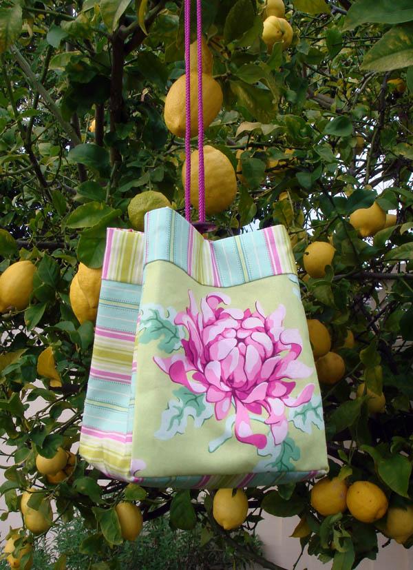 Miss J's birthday purse hanging from the lemon tree