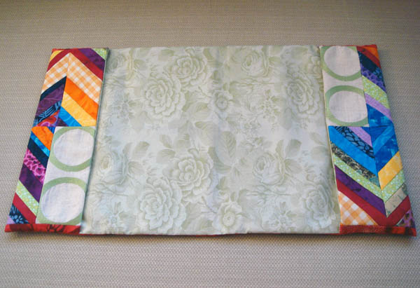 String pieced sketchbook cover interior