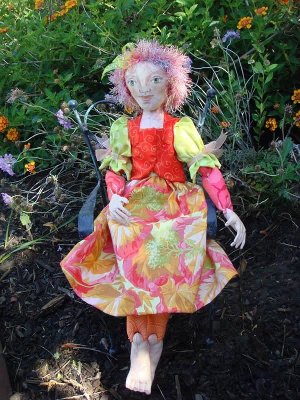 E's Averill doll in the garden