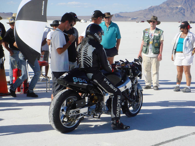 Skeleton biker at Bonneville