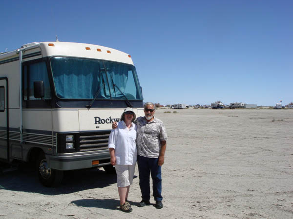 Dad and me in front of RV at the Bend at Bonneville