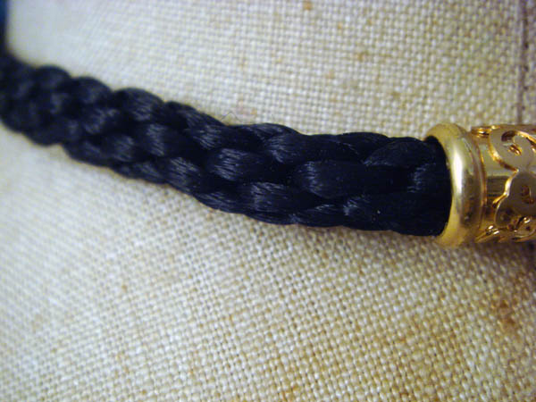 Detail of Black Kumihimo necklace