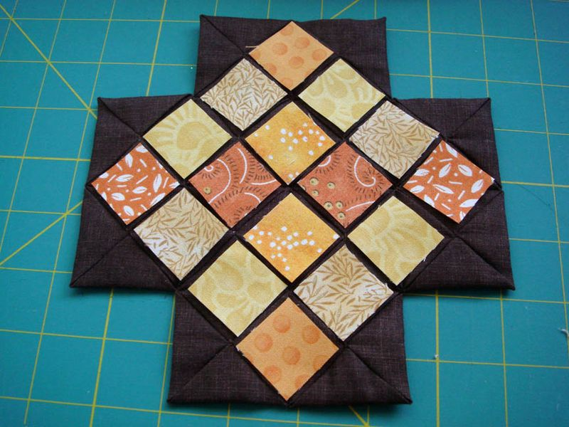 Brown blocks windows ready to sew