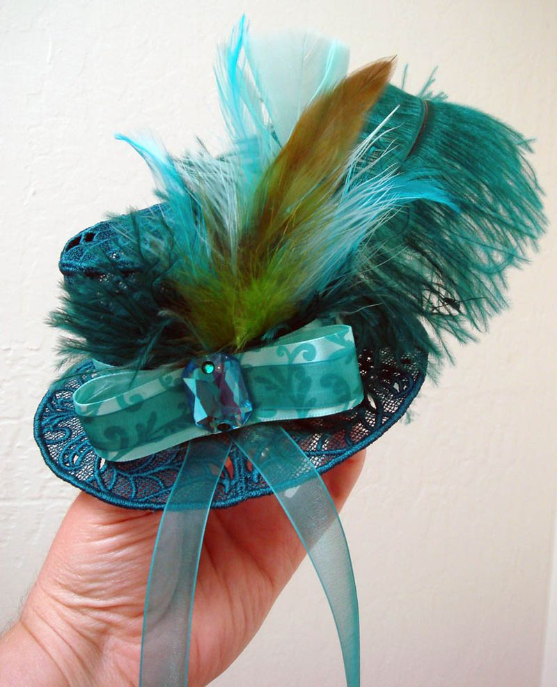 Teal Fascinator hat for Sue