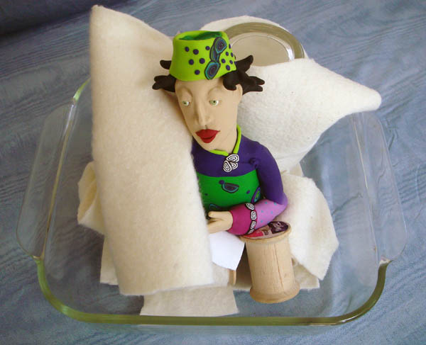 Polymer Clay Doll in baking dish