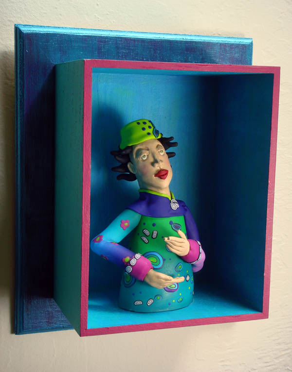 Polymer Clay Doll in Box Frame