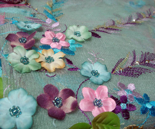3-D Flower Tulle fabric