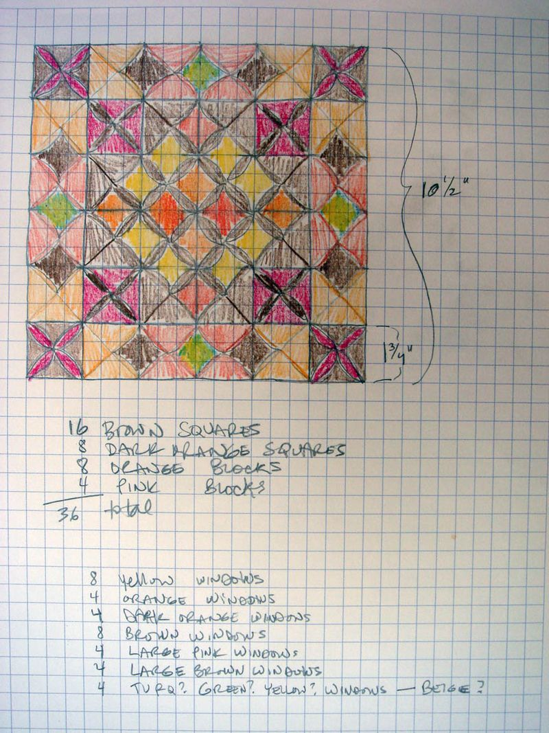 Plan for mini cathedral window quilt