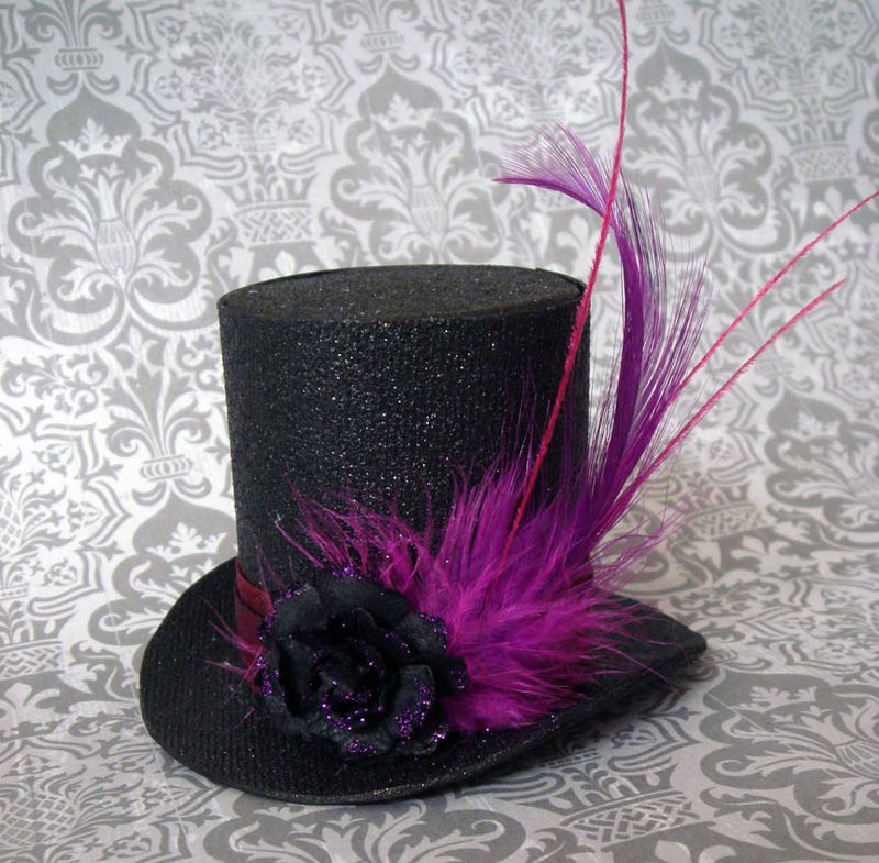 Black glitter paper top hat