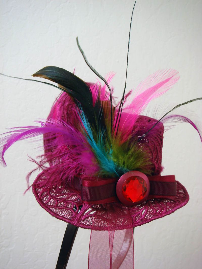 Burgandy Lace Fascinator hat