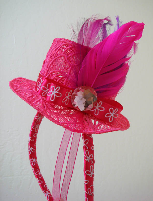 Miss Js Hot Pink Fascinator Hat on Headband