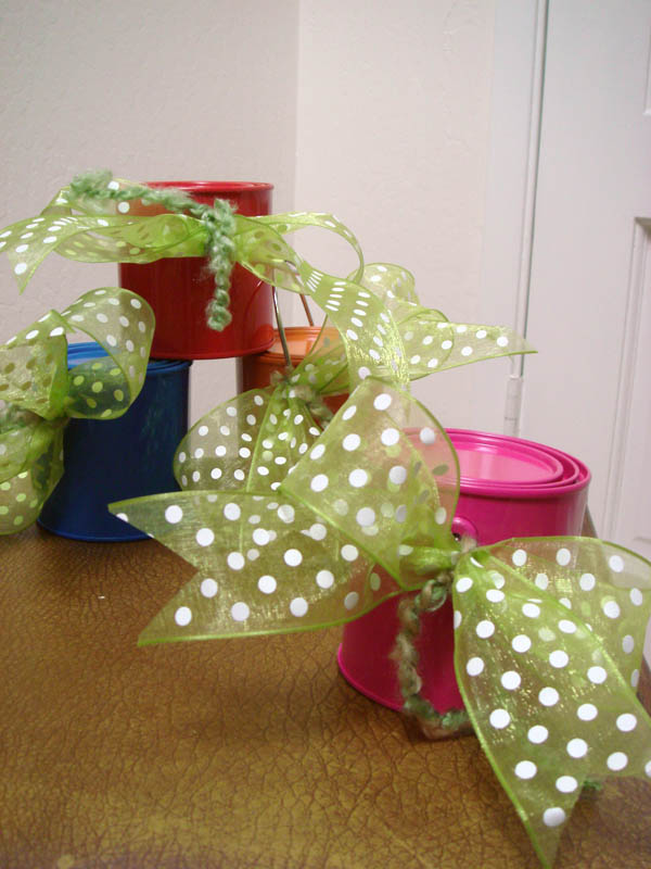 Presents in mini paint buckets