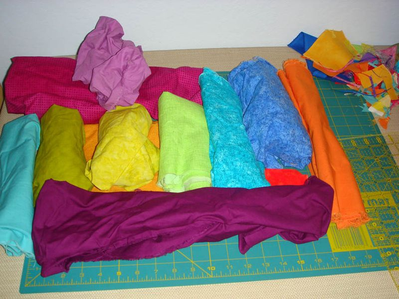 Mockup of fabrics for a third bright block