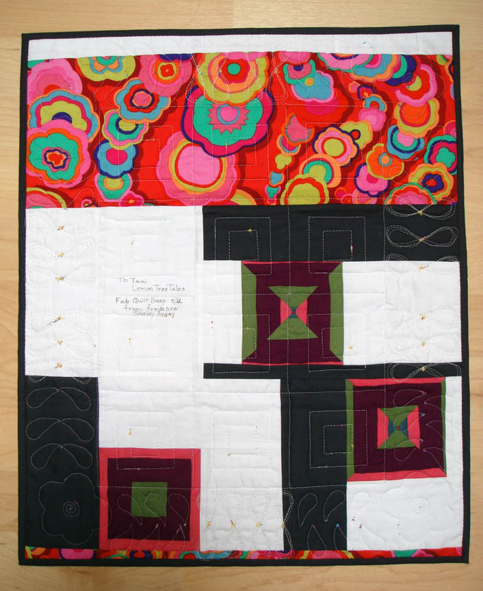 Fab Little Quilt Swap received from Friedasew back view