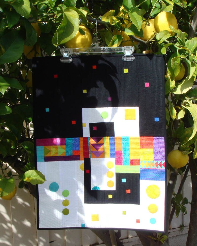 Abstract quilt top in lemon tree