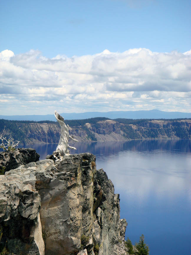 Crater Lake to the left