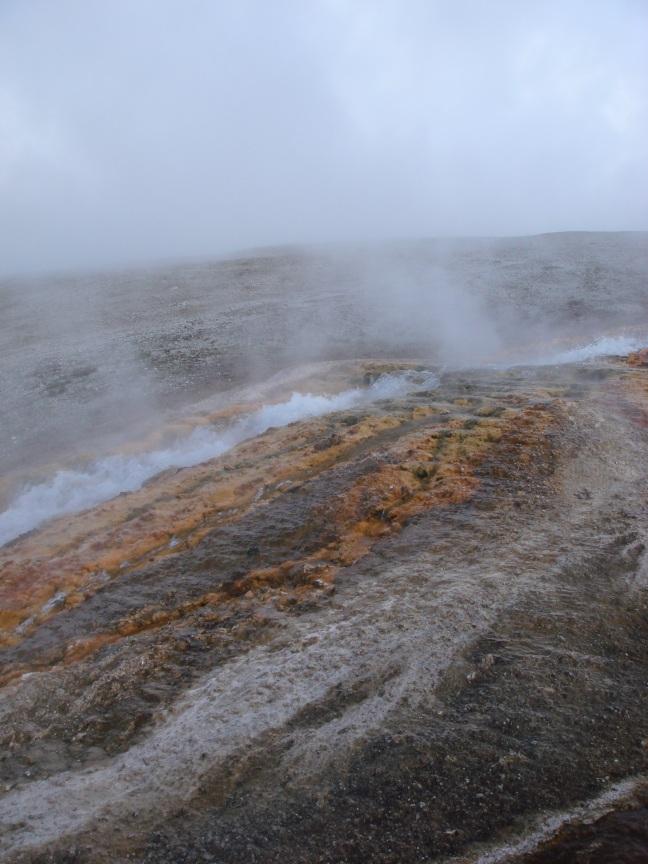 Colorful bacteria at geyser pools
