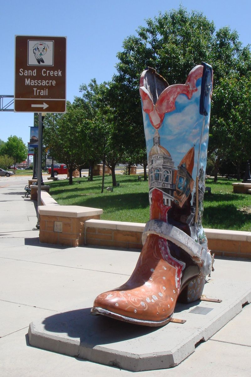 Painted Cowboy Boot downtown plaza Cheyenne WY