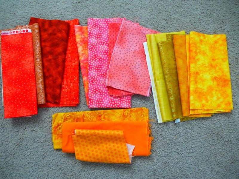 Fabrics for NY Beauty blocks in FLiQS 3 quilt
