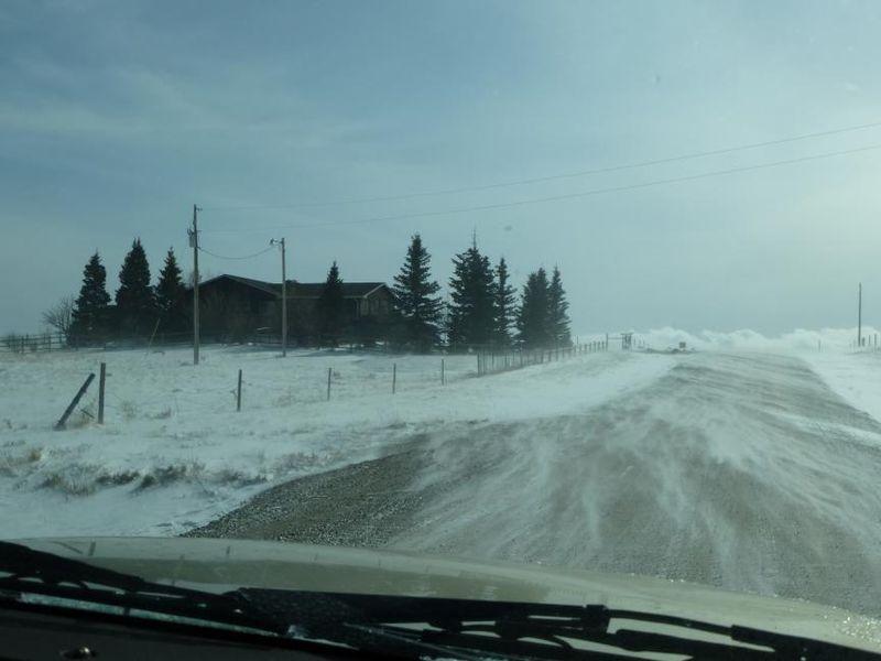 Snow blown across road in Cheyenne