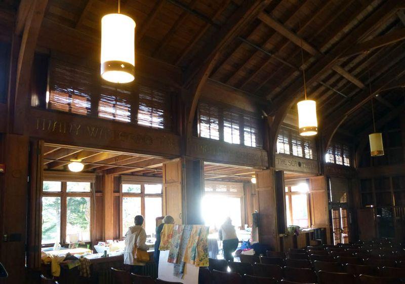 Lonni Rossi dye workshop in Chapel at Asilomar