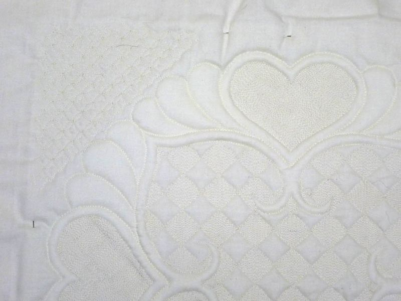 Back of Trapunto wholecloth quilt