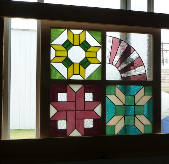 Quilt stained glass window