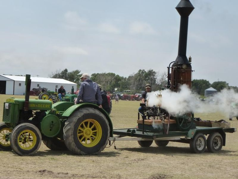 Steam powered calliope pulled by tractor