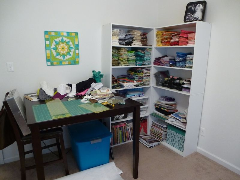 Fabric Shelving and Cutting Table